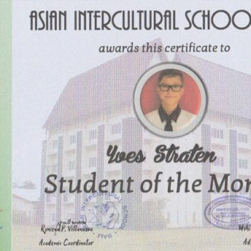 My certificate of being student of the month
