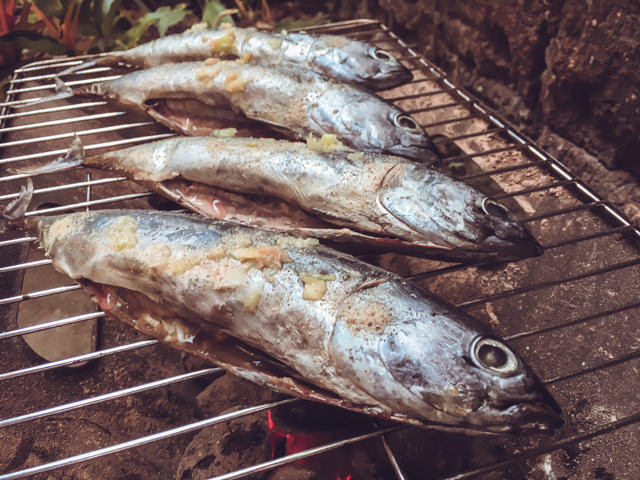 The fishes are ready to barbecue