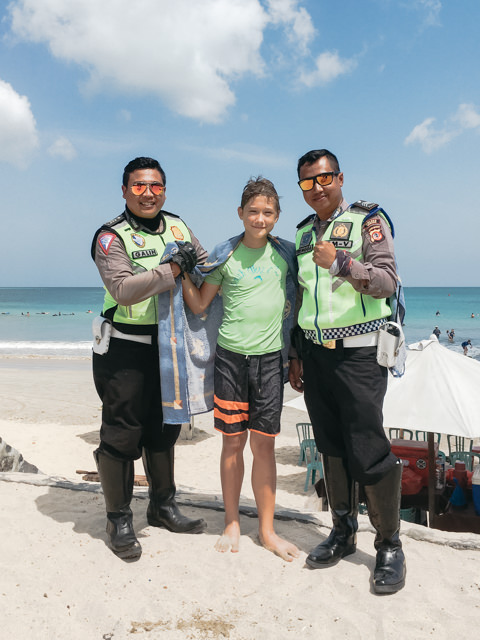 The policemen are enjoying their stay in Bali