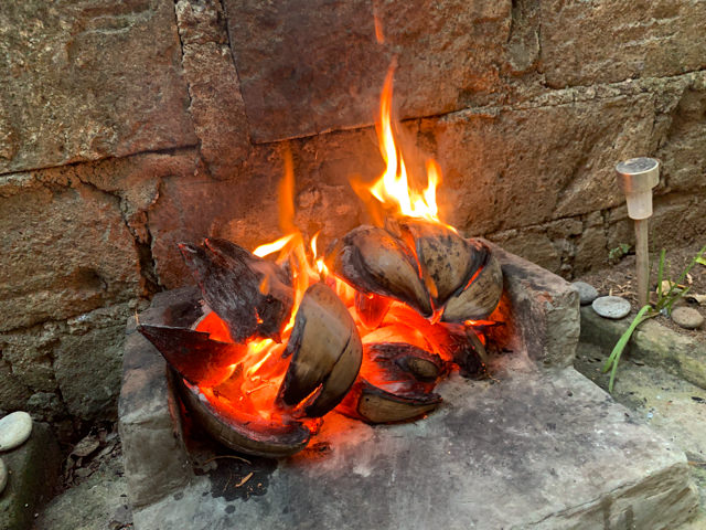 The coconut shells are burning