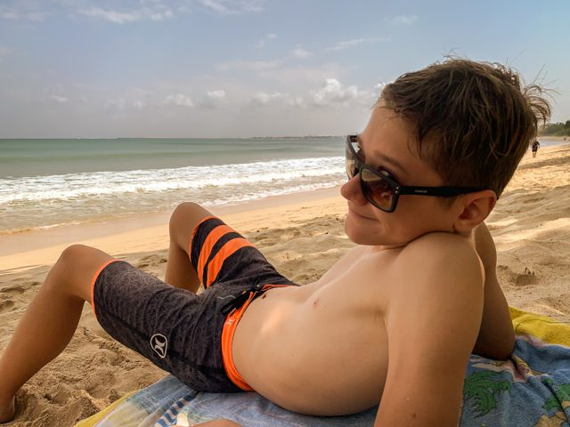 I'm relaxing on the beach