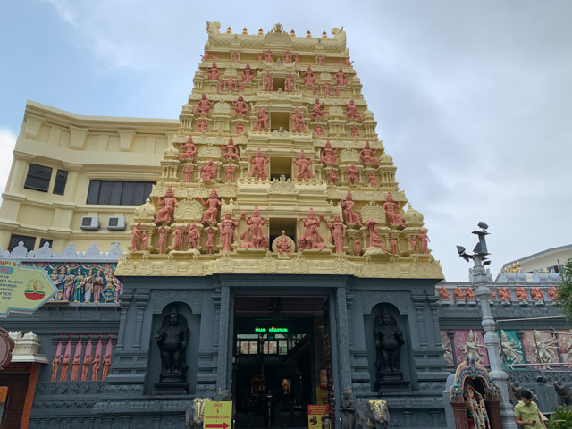 The temple's entrance is impressive